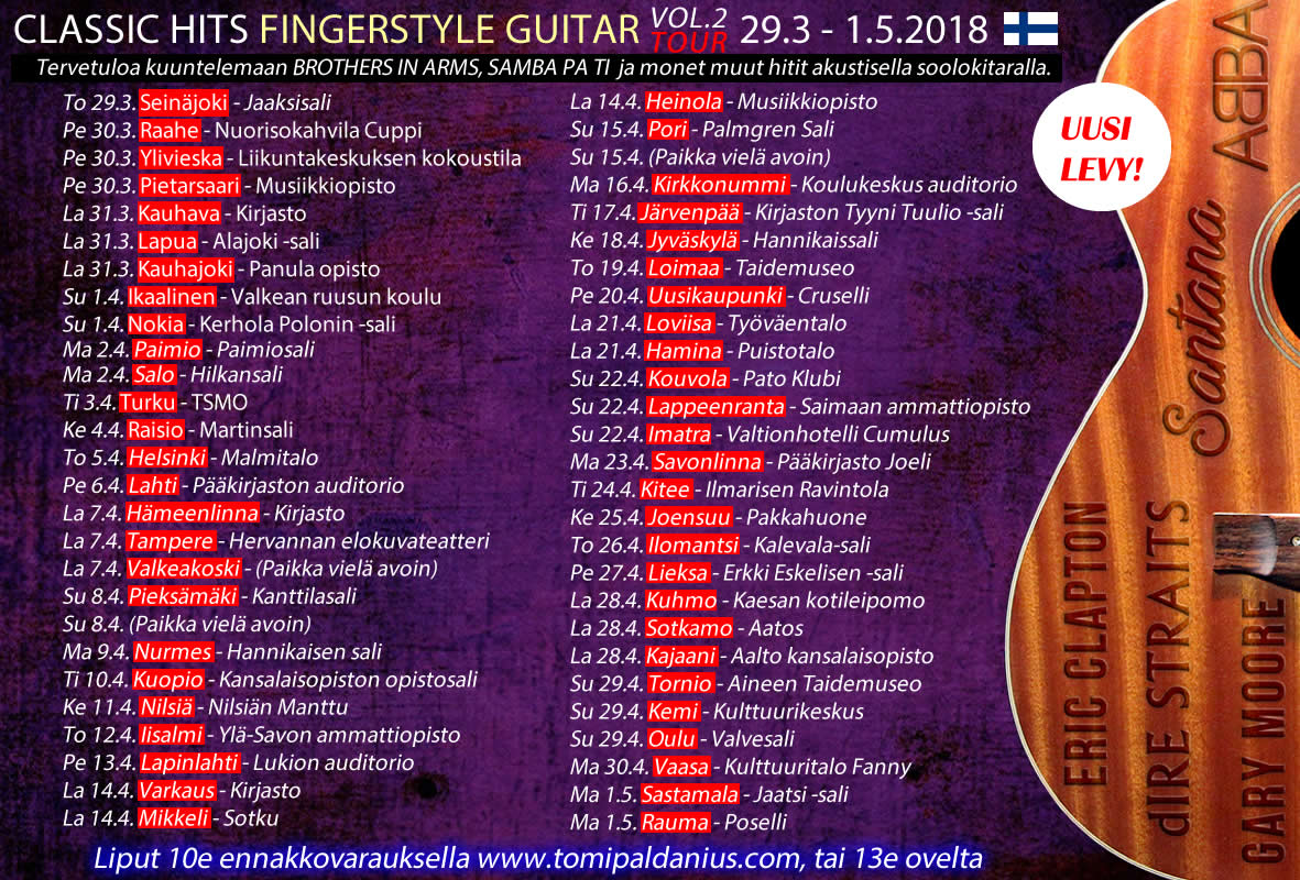 Classic Hits Fingerstyle Guitar Vol.2 kiertue
